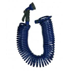 Manguera de riego en espiral 15 mts con pistola multifunción