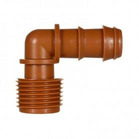 Conexión marrón en codo 90º 16mm. Bolsa 10 Unidades