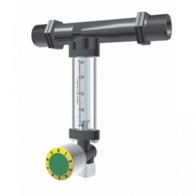 Inyector Venturi 25Ø 5mm con llave dosificadora y caudalímetro