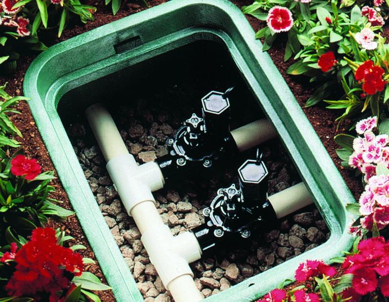 montaje de electrovalvula en arqueta de jardin